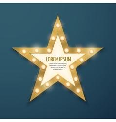 Retro gold star light vintage frame banner vector image vector image