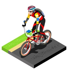 Road Cycling Cyclist Working Out 3D Flat Image vector image vector image