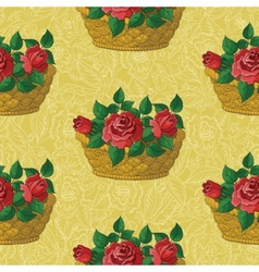 Seamless floral pattern basket with roses vector image vector image