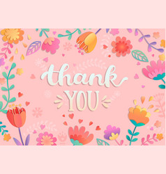 Thank you handwritten lettering with flowers vector