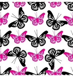 Beautiful seamless background of butterflies black vector image vector image