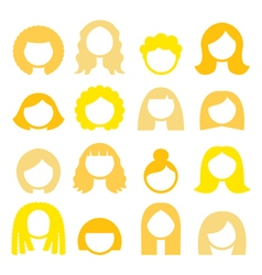Blond hair styles wigs icons set - women vector image