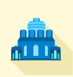 blue ancient building icon flat style vector image vector image
