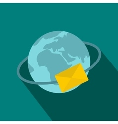 Blue Earth with envelope icon flat style vector image