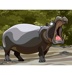 cartoon big hippo with open mouth vector image vector image