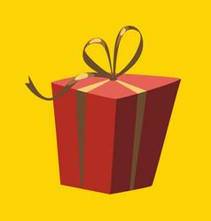 christmas red gift box christmas card poster vector image