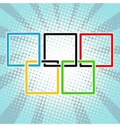 Five sports rings square black blue red green vector image vector image