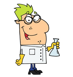 Scientist Carrying A Flask vector image vector image