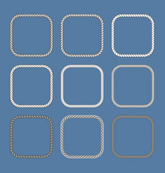 square nautical ropes frames set vector image