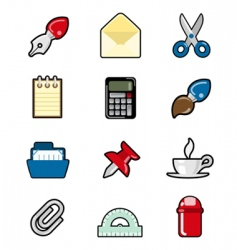 stationery object set vector image vector image
