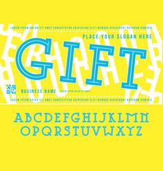 Decorative serif font with contours vector