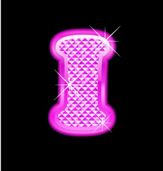 I letter pink bling girly vector image vector image