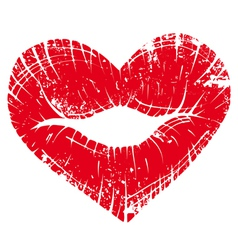 lip print heart vector image vector image