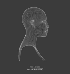 3d head wireframe drawing of wireframe vector