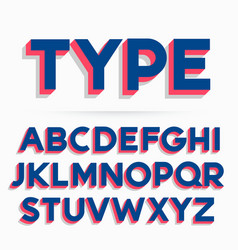 3d typeface font and alphabet design vector