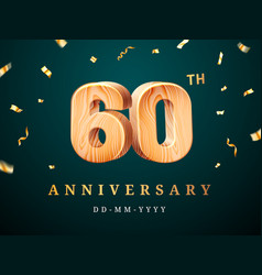 60th anniversary sign with falling confetti vector