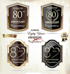 80 years anniversary labels vector