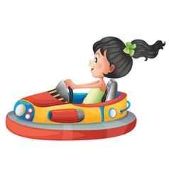 A girl driving the bumpercar vector