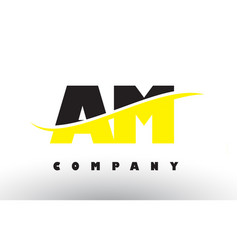 Am a m black and yellow letter logo with swoosh vector