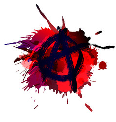 Anarchy sign on grunge splashes background vector