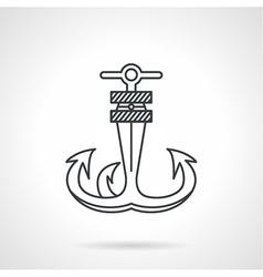 Anchor black line icon vector image