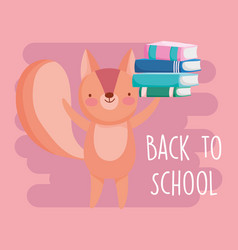 back to school education cute squirrel with vector image