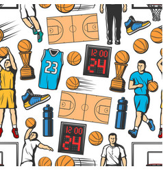 basketball player ball trophy seamless pattern vector image