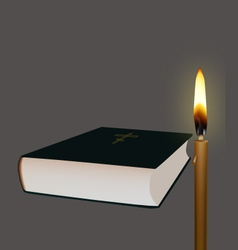 Bible and candle vector image