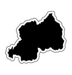 black silhouette of the country rwanda with the vector image