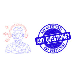 Blue distress any questions question stamp seal vector