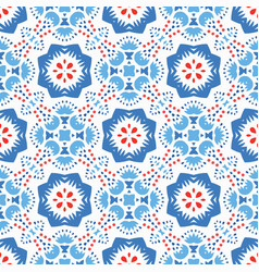 Blue red pattern flower ornament vector