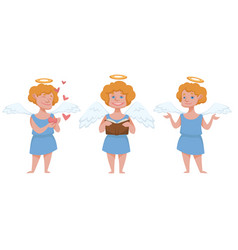 Boy angel character with halo and hearts vector