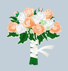 Bridal bouquet of roses isolated on gray vector