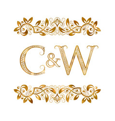 C and w vintage initials logo symbol the letters vector