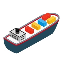 Cargo ship isometric 3d icon vector image
