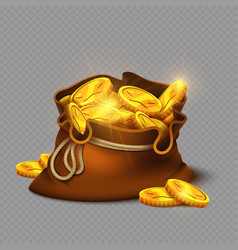 Cartoon big old bag with gold coins isolated on vector