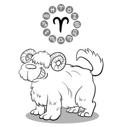 cartoon dog as aries zodiac sign vector image