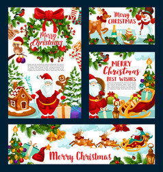christmas holiday greeting santa and gifts vector image