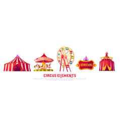 circus icons with carousel ferris wheel and tent vector image