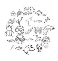 Coastal fauna icons set outline style vector