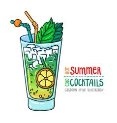 Cocktails one cartoon 10 vector