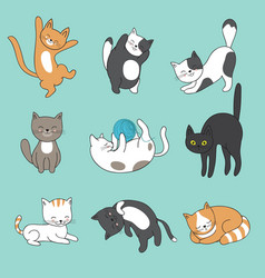 Cool doodle abstract cats characters hand vector