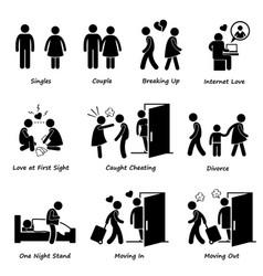 couple boyfriend girlfriend love stick figure vector image