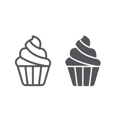 Cupcake line and glyph icon sweet and food vector