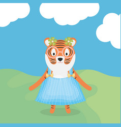 Cute female tiger with clothes character vector