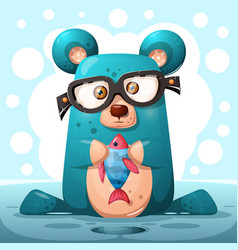 cute glasses bear with fish vector image