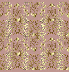 Elegance gold damask seamless pattern baroque vector