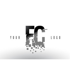 Fc f c pixel letter logo with digital shattered vector