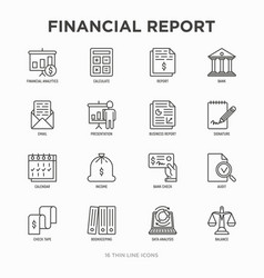 Financial report thin line icons set vector