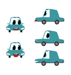 flat cartoon sick car character set vector image